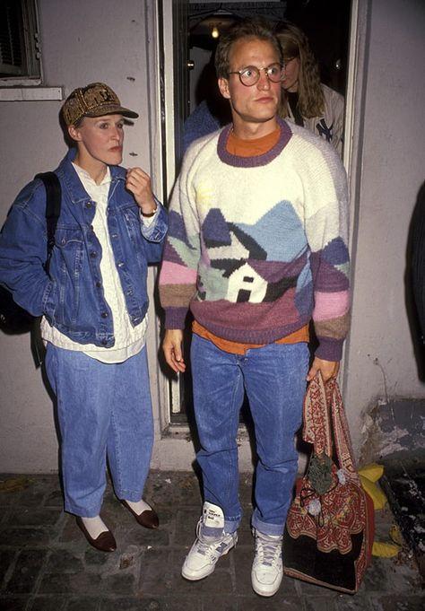 Glenn Close y Woody Harrelson en los años La moda era casual y desenfadada