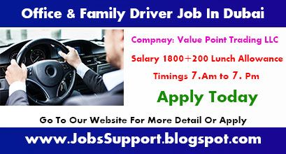 Driver Required For Office And Family In Dubai Uae Driver Job