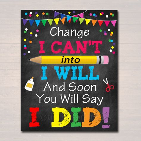 PRINTABLE Change I Can't Into I Will Poster, INSTANT DOWNLOAD, Positive Thinking School Counselor Office Teacher Classroom Power of Yet Art