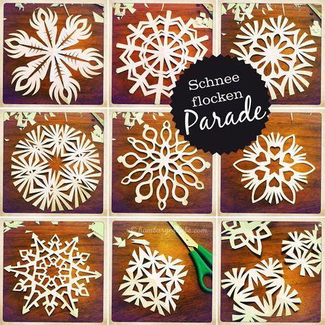 Weihnachtsbastelei:: Schneeflocken  für das Fenster!