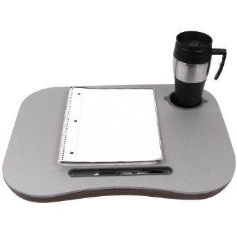 Amazon Com Laptop Buddy Gray Cushion Desk With Pen And Cup Holder 72 698005 Lap Tray Bean Bag Elec Best Deals On Laptops Workstation