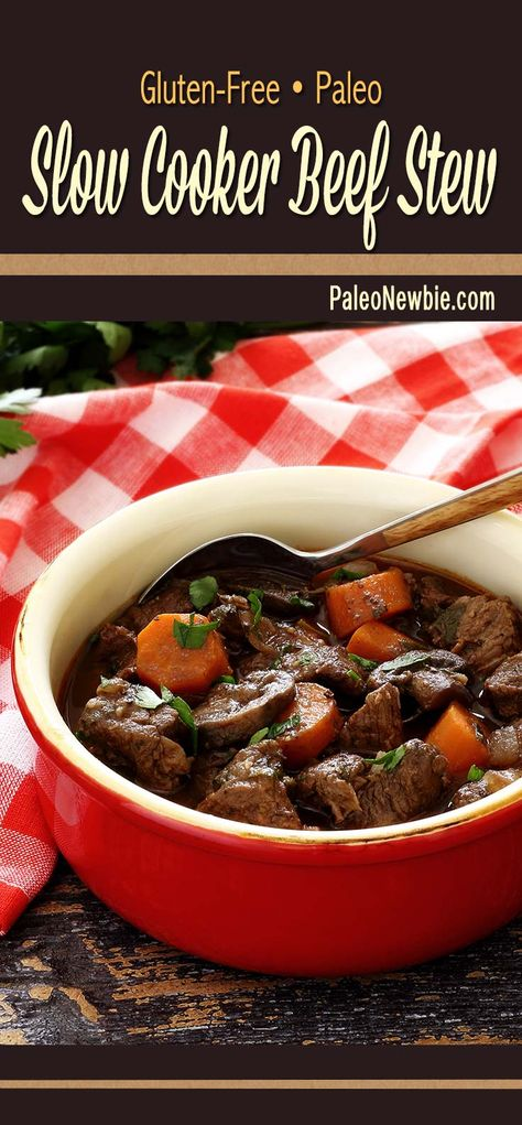 Hearty and delicious paleo and gluten-free beef stew loaded with veggies, fall seasonings, and a bit of wine. Very simple slow cooker recipe! #paleo #glutenfree #stew