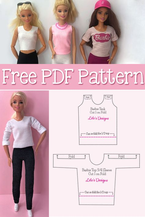 How to make 12 different style Barbie Doll Shirt Free PDF Pattern Sewing Barbie Clothes, Barbie Sewing Patterns, Barbie Dolls Diy, Baby Doll Clothes, Sewing Dolls, Doll Clothes Patterns, Barbie Shirt, Barbie Dress, Crochet Clothes For Women