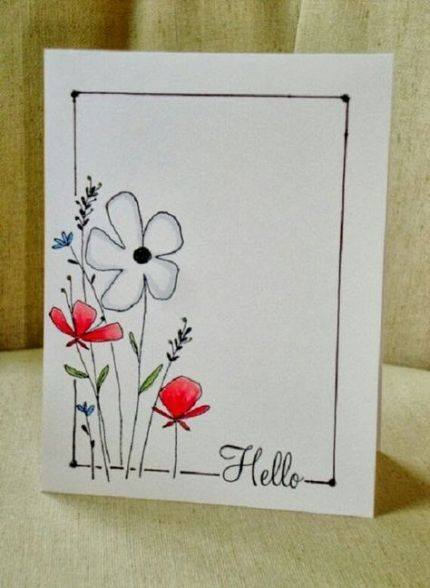 Super Flowers Drawing Watercolor Greeting Card Ideas Drawing