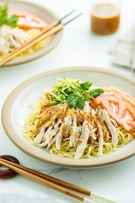 Cold Ramen Recipe - Hiyashi Chuka with Sesame Miso Sauce. Chilled noodles soaked in a savory sesame miso sauce, Hiyashi Chuka is a popular cold ramen noodles enjoyed in the hot summer months.You can even pack the noodles to work! #asiannoodles #RamenNoodleRecipe #summernoodles #coldramen #lunchideas #easynoodlerecipes   Easy Japanese Recipes at JustOneCookbook.com