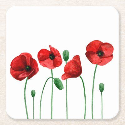 Watercolor Poppies Pillow Red Flowers Botanical Throw Pillow Zazzle Com Poppy Flower Painting Watercolor Flowers Tutorial Poppy Flower Drawing