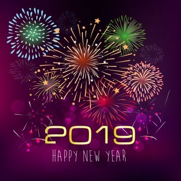 Happy New Year 2019 With Fireworks Background Chienese New Year