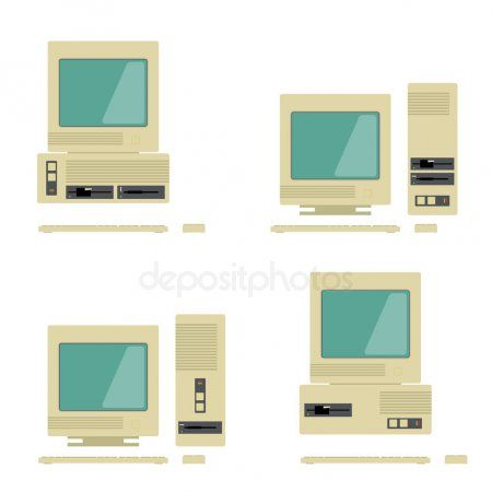 Old Computer In Retro Style Illustration Stock Vector Aff Style Retro Computer Vector Ad Old Computers Computer Vector Retro