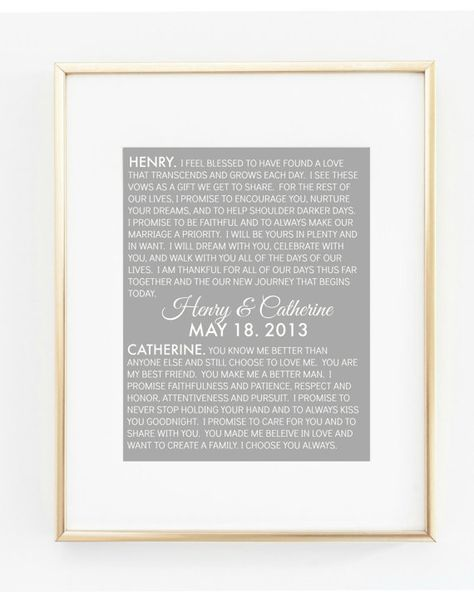 Wedding Vows Print Wedding Vows Art By Aprintpalette On Etsy Gift