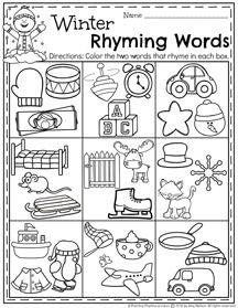FREE Winter Preschool Rhyming Words worksheet for January.