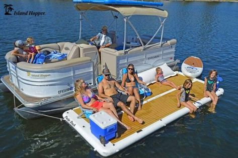 The Island Hopper Inflatable Patio Dock is a water patio platform extension for your pontoon or sport boat. Floating Dock, Floating In Water, Lake Dock, Boat Dock, Inflatable Island, Giant Inflatable, Pontoon Boat Accessories, Lake Floats, Floating Platform