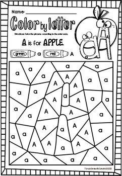 Alphabet Color By Code Single Letter Practice Distance