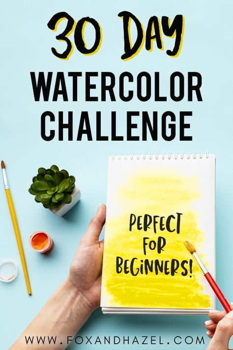 Want to learn how to paint with watercolors? Then this watercolor challenge for beginners is perfect! Grab the free watercolor prompts and start painting! Learn Watercolor Painting, Watercolor Beginner, Watercolor Paintings For Beginners, Watercolour Tutorials, Watercolor Projects, Watercolor Tips, Watercolor Techniques, Watercolor Drawing, Watercolor Illustration