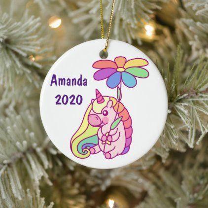 Rainbow Unicorn 2020 Christmas Ornament Custom Unicorn Christmas Ceramic Ornament in 2020 | Ceramic