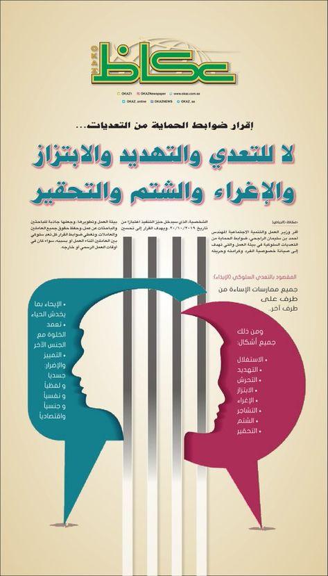 لا للتعدي والتهديد والابتزاز والإغراء والشتم والتحقير Saudi Arabia News Chart Bar Chart