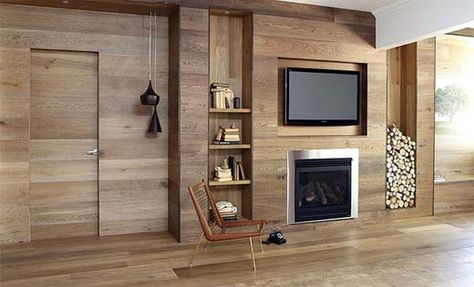 "This interesting modern, minimalist twist on a bookcase / fireplace combination is found in a post about ""Wood Panel Ideas"" at the click-through. It's walnut, continuing onto the floor, and shown to illustrate horizontal banding. Floor is from Royal Oak Floors by Harper & Sandilands (http://www.royaloakfloors.com.au/about/)."