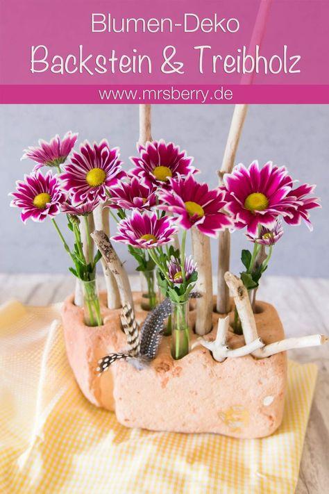 Beach Deko Diy Aus Blumen Reagenzglasern Und Einem Backstein Aus