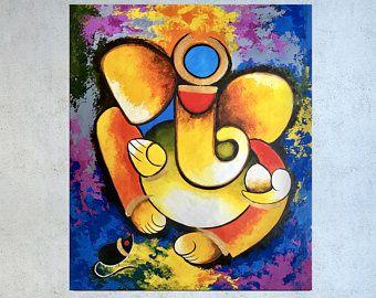 Ganesha Painting Indian Painting Indian Decor Hindu Decor Etsy Indian Wall Art Modern Indian Art Indian Art