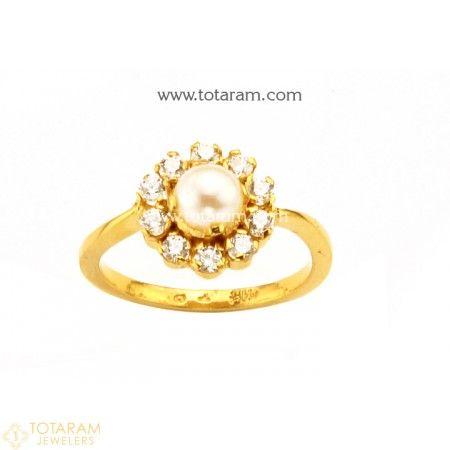 22K Gold Ring For Women with Pearls & Cz 235 GR4438 Buy this