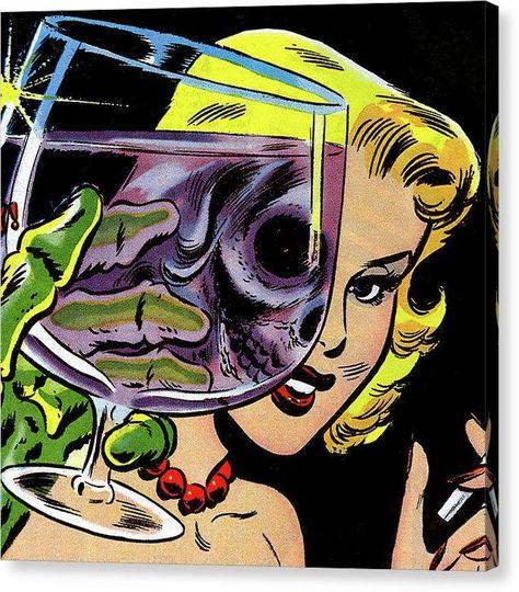Beautiful Woman Skull, Vintage Comic Book - Canvas Print - 8.000 x 8.000 / Mirrored / Glossy