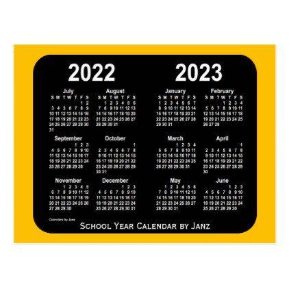 Personalized Calendar 2022.2022 2023 Gold Neon Mini School Calendar By Janz Postcard Calendars 2019 Personalized Calendar School Calendar Custom Calendar Postcard