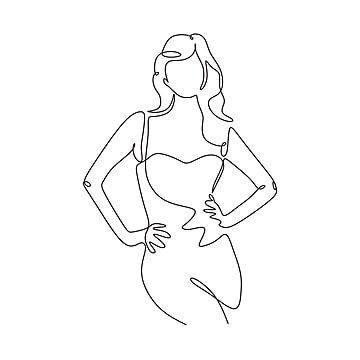 Continuous One Line Drawing Of Fashionable And Beauty Woman Awesome Girl Posing Minimalism Sketch Hand Drawn Single And Simplicity Design Vector Illustration G Line Drawing How To Draw Hands Vector Illustration