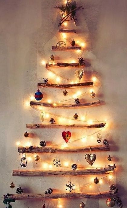 I want to do this in my house this year. Twig Christmas Tree with ...