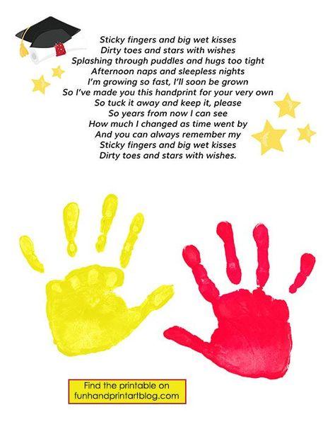 Keepsake Graduation Poem with Handprints - treasure the kids preschool graduation with a sweet poem and handprints!