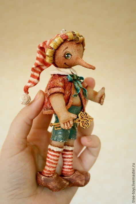 Купить Елочная игрушка Буратино - буратино, красный, елочная игрушка, золотой ключик, новогодний подарок
