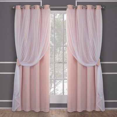 Caterina Layered Solid Blackout With Sheer Top Curtain Panels Rose