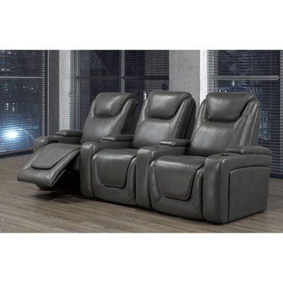 Sorrento 3 Seat Faux Leather Power Recliner Home Theatre Seating