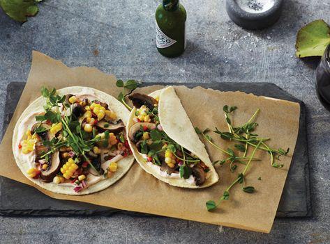 Recette : tacos aux champignons, salsaau maïs et crème au chipotle