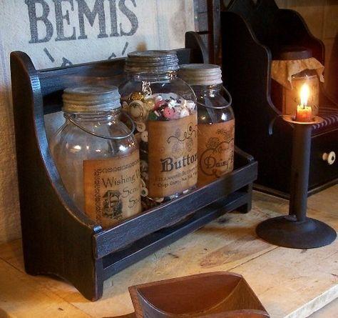 Primitive Large Jar Keep / Handmade / Color Choice by Sawdusty, $30.00
