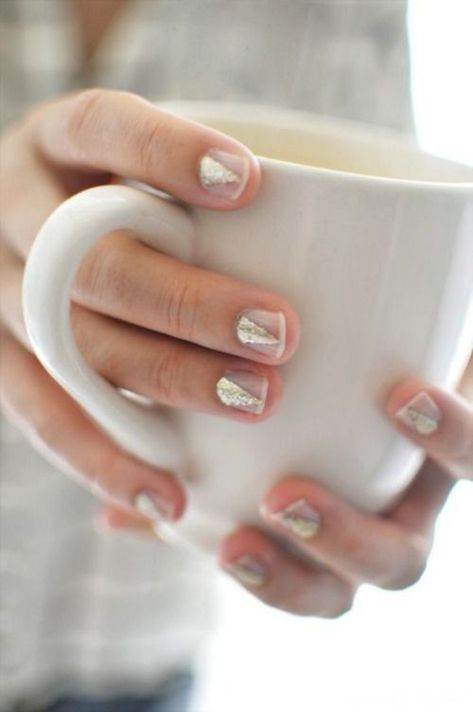 It doesn't take much to create these classy, minimalist nail art designs – just two nail polish colours and really steady hands.