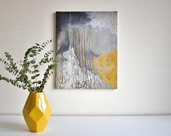 Abstrakte Malerei Acryl Auf Leinwand Original Landschaft Grau