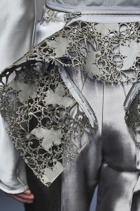 Delicate laser cut leather & zipper feature - close up fashion details // Haider Ackermann AW/10