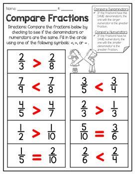 Comparing Numerators And Denominators Freebie Numerator Fractions Worksheets Denominator