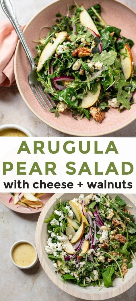 Arugula Pear Salad with Goat Cheese Arugula Pear Salad with Walnuts – A simple, tasty salad with healthy greens, lemon dressing and goat + blue cheese. Perfect for snacking or entertaining. Arugula Salad Recipes, Chicken Salad Recipes, Healthy Salad Recipes, Vegetarian Recipes, Spinach Salads, Green Salad Recipes, Salads With Goat Cheese, Salad With Chicken, Healthy Recipes
