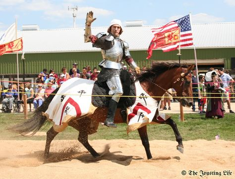 Pooh Bear, a quarterhorse mare, and owner and rider Jeffrey Basham are introduced to the audience during the Grand Tournament of St Charles 2013 (photo by The Jousting Life)