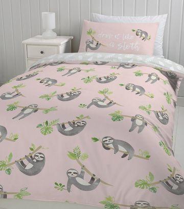 Pink Sloth Print Cotton Single Duvet Set Bedroom Diy Bedroom Design Duvet Sets