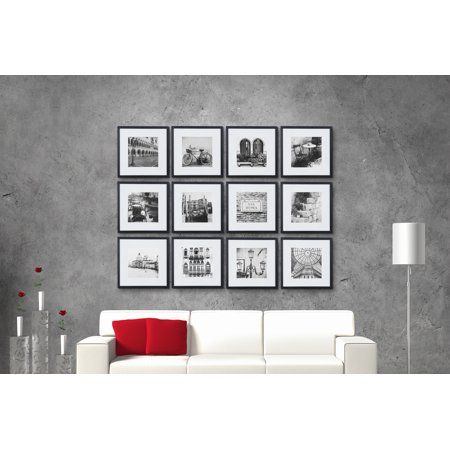 12 Piece 12 X12 Black Frame Kit Matted To 8 X8 Walmart Com In 2020 Picture Frame Wall Gallery Wall Kit Gallery Wall Picture Frames