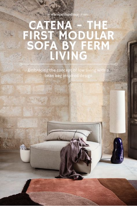 ferm LIVING has introduced the brand's first modular sofa with a distinguished design created by soft curves and top-stitched seams. ferm LIVING wanted to provide a safe harbour in a hectic and busy world with the homely, module-based Catena Sofa and made it with innovative microcellular foam that ensures maximum comfort as well as durability in a very stylishly way! #fermliving #scandinaviandesign #sofa#modularsofa #interior #aprilandmay