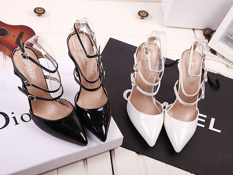 8ea29ad79d0a 2016 New Summer Style women s high heels Pointed Toe Bandage Lace Up  Stiletto sandals celebrity ladies shoes Pumps Black White