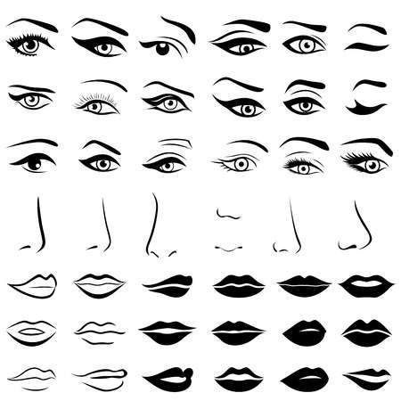 Illustration Of Big Set Of Various Human Eyes Noses And Lips Vector Design Elements Isolated Over White Lips Illustration Girl Eyes Drawing Eye Illustration