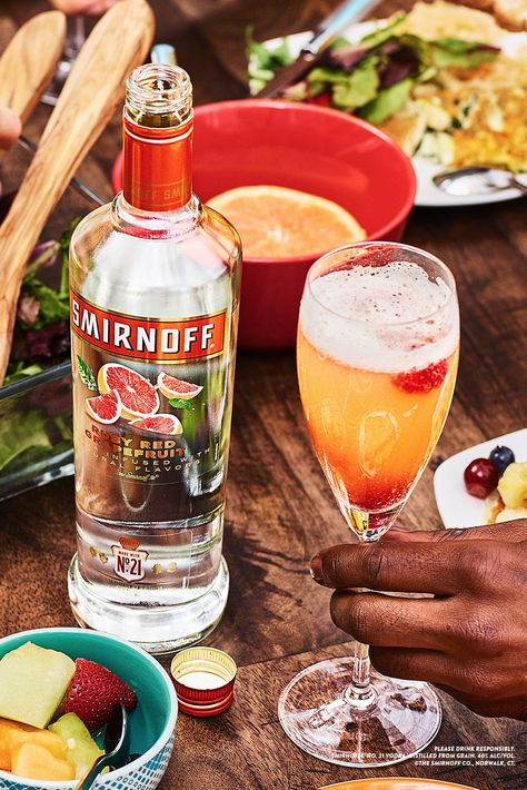 Smirnoff Ruby Red Grapefruit makes an easy and delicious sparkling Brunch Punch everyone can agree on, perfect for breakfast people and lunch lovers.  Recipe: 1 cups Smirnoff Ruby Red Grapefruit, .5 cups Champagne, 3 cups Grapefruit Juice, Raspberry Garnish, Serves 6-8.