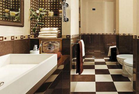 check-pattern-floor-beige-brown-wall-tiles KOPALNICE Pinterest - fliesen für das badezimmer