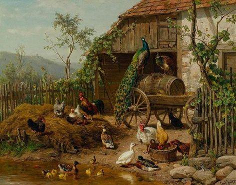 THE CROWDED BARNYARD FARM CHICKENS CHICKS DUCKS PAINTING BY CARL JUTZ REPRO