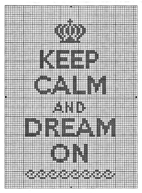 Keep Calm and Dream On - Cross Stitch Pattern note on original page says to click, download and print...