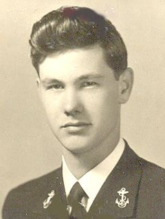 """""""Johnny"""" Carson (1925-2005). Ensign, U.S. Navy 1943-45 WW II. He enlisted as a Seaman Apprentice and later received a commission. He served as OIC of decoding messages on the USS Pennsylvania in the Pacific."""