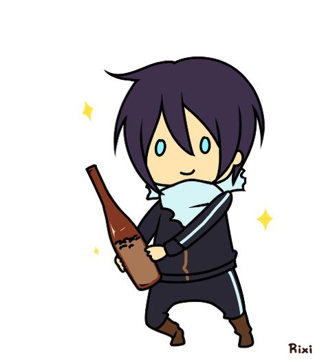 """Noragami ~~ A godly """"happy dance"""". :: Yato and his sake bottle filled with 5-yen coins."""